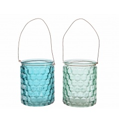 A mix of 2 blue and green glass lanterns with a textured surface and wire hanger.