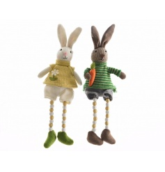 An assortment of 2 bunny ornaments with knitted outfits and beaded dangly legs.