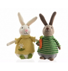 An assortment of 2 adorable rabbit figures with knitted outfits. A great Spring gift item!