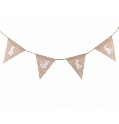 Dress your home with this charming hessian bunting complete with a white rabbit design with an adorable pom pom tail.