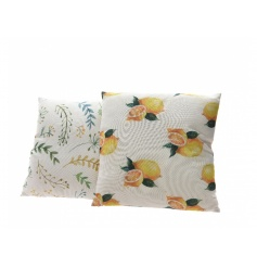 An assortment of 2 fresh and bright cushions with a leaf and lemon design. Beautiful cushions for the home or garden.
