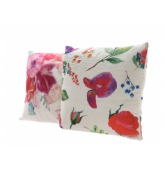 A mix of two vibrant watercolour effect floral cushions. A stylish seasonal accessory for the home in on trend colours.