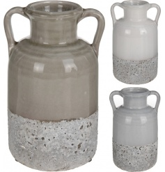 This large multi toned base with a ceramic ridged top gives this vase the perfect stylish home decor vibe
