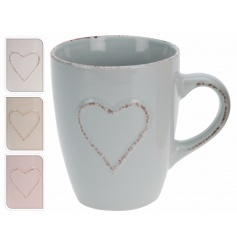 An assortment of 4 shabby chic style mugs in pastel colours with a heart detail.