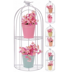 White birdcage decoration complete with 2 plant pots and artificial flowers.
