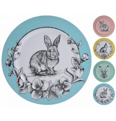 Unique pastel coloured plates with an illustrated bunny design. Decorative use only