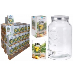 Get ready for those parties with this large mason jar style drinks dispenser with picture packaging.