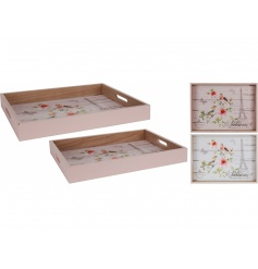 Wooden Floral Serving Trays Set
