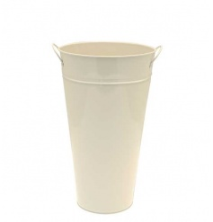 Cream Zinc Vase Large, 36cm