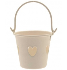 Cream Heart Bucket, 9cm