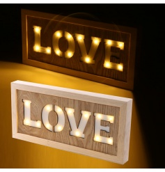 Quirky wooden sign with a led LOVE cut out