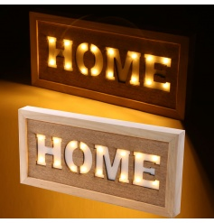 Quirky wooden sign with a led Home cut out
