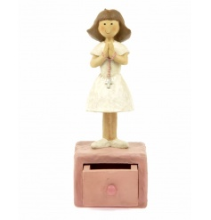 A beautiful girl ornament with pink trinket drawer.