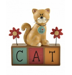 I love my cat ornament with decorative flowers and block sign.