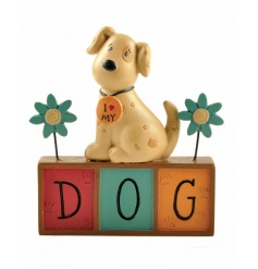 An adorable dog figure with block slogan and pretty flower decorations. A lovely gift for many occasions.
