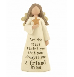 A beautiful angel decoration with a friendship slogan. A lovely gift item.