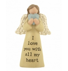 A gorgeous angel decoration with love slogan and heart feature.