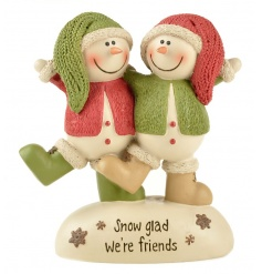 Snow glad we're friends. A charming snowman decoration in festive red and green colours.