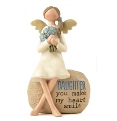 Daughter you make my heart smile. A beautiful sentiment ornament with angel.