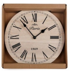 A stylish wooden clock with roman numerals. A classic home accessory.