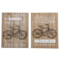 This assorted set of wooden plaques will bring a stylish twist to any space