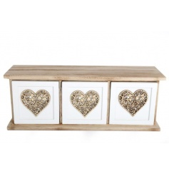 A stylish and practical shabby chic storage unit with 3 drawers. Each is decorated with an attractive heart motif.