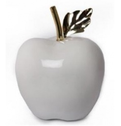 Luxuriously simplistic styled ceramic white apple ornament,