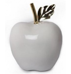 Luxuriously simplistic styled ceramic white apple ornament