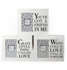 A mix of 3 wooden photo frames each with a laser cut slogan.