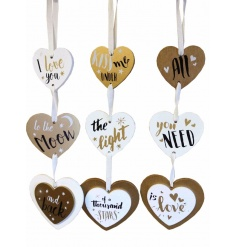An assortment of 3 chic hanging heart plaques with popular love slogans.