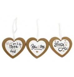 An assortment of 3 gold and cream double heart plaques, each with a popular love slogan.