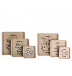 A set of 3 charming wooden trays in coffee and tea designs. A great gift item and practical home item.
