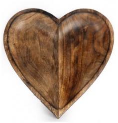 Mango wood heart carved bowl
