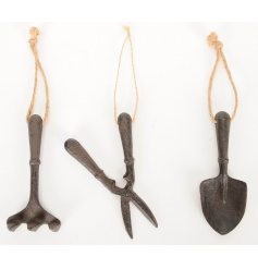 An assortment of 3 charming iron garden ornaments with chunky rope hangers. Rustic decorative items.