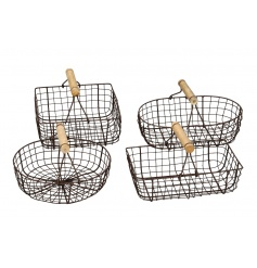 An assortment of 4 rustic style baskets, each with a wooden handle.