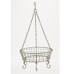 A rustic style metal wire hanging display basket with hooks. A charming kitchen accessory and shop display item