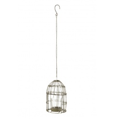 A rustic metal bird cage t-light holder with hanger. Ideal for garden and event decoration.