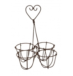 A rustic style egg holder with a decorative heart carry handle. To keep 4 eggs, ideal for those baking recipes!