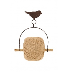 A rustic style metal string holder with bird. A great accessory for the potting shed, home and garden.
