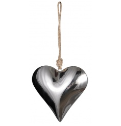 A large, luxury silver mirrored heart with a chunky rope hanger.