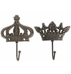 An assortment of 2 antique inspired cast iron hooks. A stylish and practical storage solution for the home and garden.