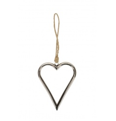 A classic silver hanging heart decoration with jute rope hanger.