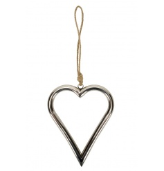 A classic silver heart hanging decoration with chunky jute hanger.