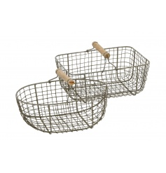 An assortment of 2 rustic wire baskets in oval and rectangular shapes. Each with a wooden handle.