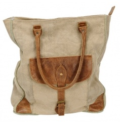A stylish and practical large canvas and leather bag with buckle.