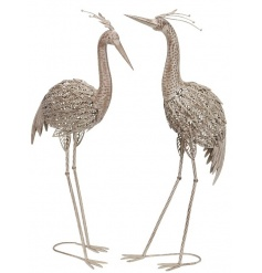 An assortment of 2 metal heron ornaments with decorative feathers. A stunning ornament for the garden.