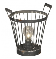 A rustic style metal basket with LED light bulb. A stylish accessory for the home.