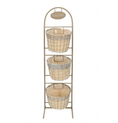 A set of 3 storage baskets within a welcome frame. Each basket has a fabric liner.