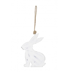 A shabby chic style white rabbit decoration with jute string hanger. A charming accessory this season!