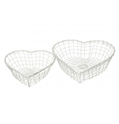 A set of 2 heart shaped baskets in a white washed finish.